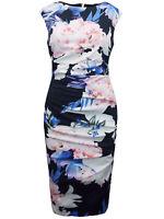 £89.00 New Coast Blue Floral Ruched Scuba Shift Dress Size UK 10 12 14 16