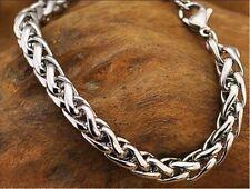 "Stainless Steel Women's Men's Bracelet 8""L Rope Link 4mm Chain Fashion Jewelry"