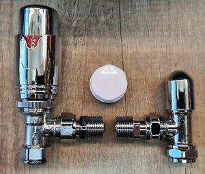 Thermostatic Radiator Valve 15/10/8mm Angled TRV & Lockshield Pack Set REF CHP