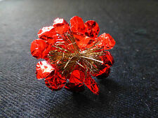 Antique Red Tinfoil Flower Gold Tinsel Wire Christmas Ornament, Mid-Late 1800's