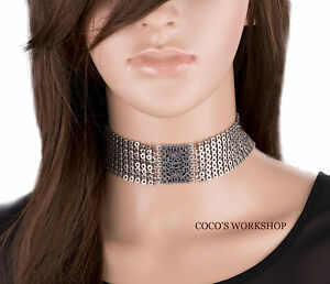 VINTAGE SILVER VICTORIAN STYLE BLUE STUD CHOKER GOTH WOMENS NECKLACE GIFT PUNK