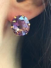 14 ctw Large Glamourous Amethyst Oval Stud Earrings 14k Gold
