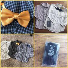 NWT Boys 7 Pc Dress Shirt Lot + Bow ties Stacy Adams Size 7 8 Oshkosh Crazy 8