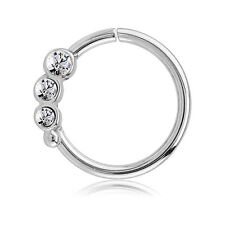 316L Surgical Steel Seamless Nose Ring Daith Helix Continuous CZ Hoop 16G