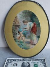 """vtg Flue cover Woman Clips Baby Cupids Angel Wings antique wall hanging 9-1/4"""""""