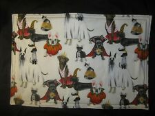 HALLOWEEN DOG CAT COSTUME HANDMADE FABRIC PLACEMATS SET OF 4