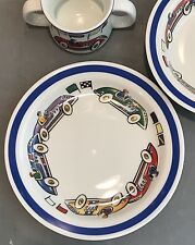 TIFFANY Race Car 2002 Baby Child Porcelain Set Plate Bowl Two Handle Mug NO BOX