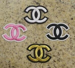 Chanel CC Logo 4 Iron-on  Emblem PINK WHITE GOLD BLACK LOT