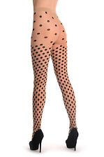 Black Woven Polka Dot On Nude (T001176)