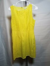 Madewell Neon Yellow EYELET TRAIL Shift Dress size 2