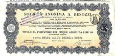 1907 A.BESOZZI MATERIALE ELETTRICO E METALLI * AZIONE D'EPOCA ORIGINALE