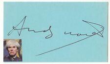 ANDY WARHOL ART LEGEND RARE SIGNED CARD + PHOTO  COA