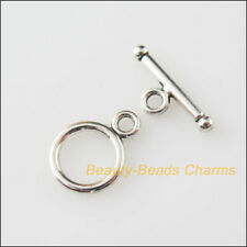 25 New Connectors Necklace Smooth Circle Toggle Clasps Tibetan Silver Tone