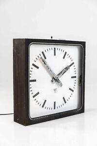 Vintage Industrial Huge Illuminated Pragotron Factory Wall Clock