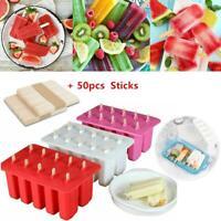 10 Cells Frozen Ice Cream Lolly Maker Prop Mold Mould Popsicle Yogurt +50 Sticks