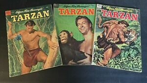 Lot Of 3 Tarzan Comics #49 Oct 1953, #51 Dec 1953 & #55 Apr 1954 Good Condition