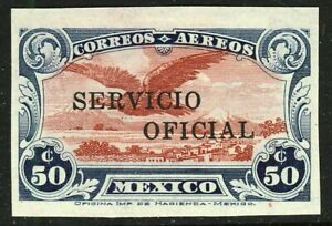 MEXICO 1932-33 50c. Air Mail Overprinted SERVICIO OFICIAL Imperforate MINT