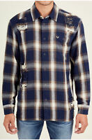 True Religion Men's Long Sleeve Loose Fit Button Front Plaid Shirt in Navy