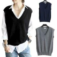 Womens V-neck Loose Pullover Knitted Sweater Vest Tank Top Preppy Casual Warm D