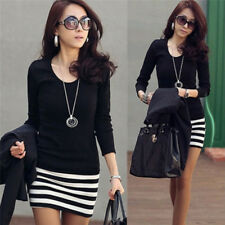 Women Autumn Ladies Large Size Fashion Slim Striped Dress Long Sleeve Mini GT