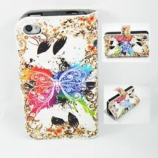 Colorful Butterfly Walllet Leather TPU Soft Cover Case For Apple iPhone 4 4G 4S