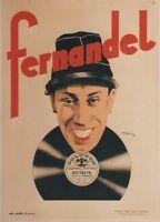 """FERNANDEL : OCTAVIE s/POLYDOR""Affiche originale entoilée Litho JEAN-JOSE 1932"