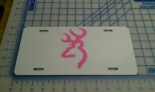 Browning license plate tag (white and pink)