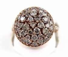Fancy Color Brown Diamond Round Cluster Ring 14k Rose Gold 2.40Ct