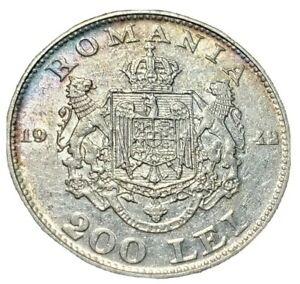 1942 Romania Silver 200 Lei, Toned . Uncirculated