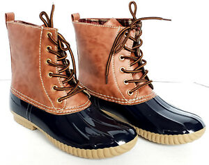Womens Navy Calf Rain Duck Boots Shoes by Yoki DYLAN Lace Up Two Tone SZ 6 to 10