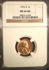 1955-D Lincoln Cent NGC MS 66 RD, Sharp Strike, Frosty Designs, cartwheel fields