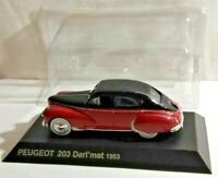 NOREV 1:43 SCALE 1953 PEUGEOT 203 DARL'MAT - RED & BLACK WITH STAND