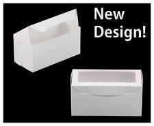 "100 Cupcake Box w/window AND inserts White / Kraft 8"" X 4"" X 4"" holds 2 cupcakes"