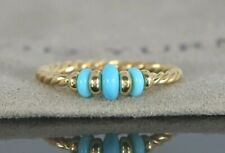 $950 David Yurman 18K Yellow Gold Rio Rondelle Cable Turquoise Ring Band Sz 7.5