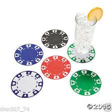 12 CASINO Vegas Game Night Party Bar Drink Beverage Paper POKER CHIP COASTERS