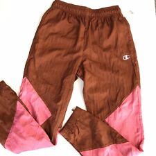 Champion Wind Pants Color Block Small Rust Brown Pink NWT