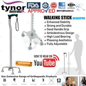 Tynor® Adjustable Walking Stick Quadripod Quad Cane Ergonomic Wide Base TPE Pods