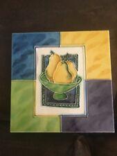 """Ceramic Pear Trivet Tile Pot Holder Wall Art 6 x 6"""""""