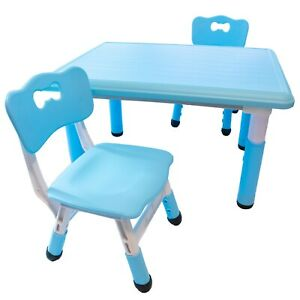 Children Kids Height Adjustable Study Activity Table and 2 Chairs Set 80x60cm