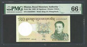 Bhutan 20 Ngultrum 2006 P30a Uncirculated Grade 66