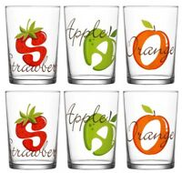 box of 6- decorated drinking glasses cocktail water juice cider FRUITS 515ML