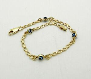 """Children's blue Color Evil Eye Bracelet in Real 14K Yellow Gold 6"""" long 2.1 gr"""