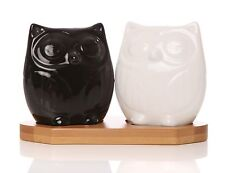 Stella Owl Salt and Pepper Pots with Bambo Stand, Novelty, Gift, Present