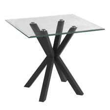 Premier Halo End / Side Table, Square Tempered Glass Top, Rice Shaped Black Base