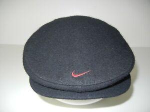 Vtg 90s NIKE GOLF Black Warm WOOL CABBIE HAT Flat Newsboy Course Summer Cap Sz L