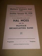 WELFARE CONCERT HALL CORBY ~ ORIGINAL THEATRE PROGRAMME HAL MOSS 1938