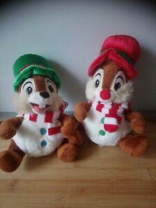 Peluches Tic et Tac 20 cm chapeaux rouge vert écharpes Disney Store