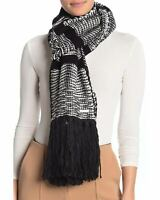 Michael Kors Womens Tweed Knit Fringe Wrap Scarf Black