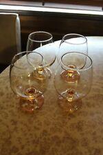 "Set of 4 Vintage Brandy Balloon Glasses Marigold Peach LUSTREWARE Glass 5"" Tall"
