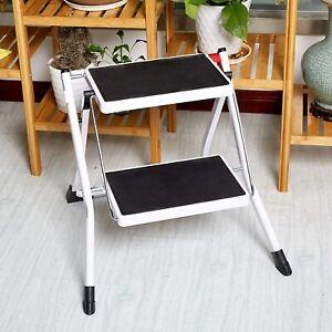Luckyermore Portable 2 Step Ladder Folding Stool Stepladders Anti-Slip Safety